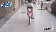 Most Amazing Ass Riding a Bike with a String Thong and Camel