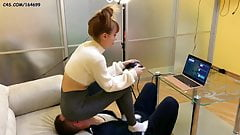 Gamer Girl Uses Chair Slave While Playing - Facesitting