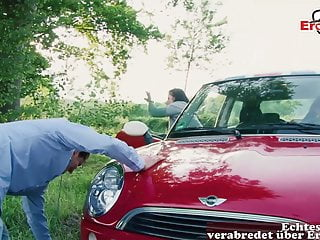Teen mom car accident German horny milf seduces guy at car accident outdoor