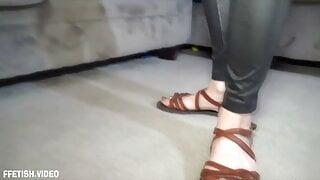 KinkyFootGirl - Bitchy Neighbor Gets Loads of Cum on Sandals
