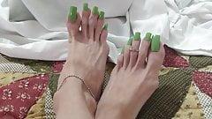 My green toe nails