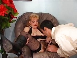 Mature lilac bush Mature frenchie with big bush anal fucked by the neighbors son in her armchair