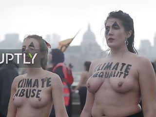 Pro porn activist Topless activists block london bridge