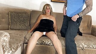 Stepmom showed her son her panties and gave anal