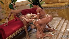 Ebony and blonde futanari babes entertaining the Egyptian pr