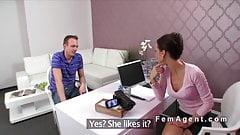 Female agent beauty bangs in stockings in casting - EbonyFu