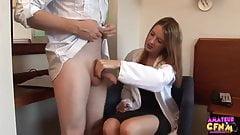 CFNM Gorgeous UK Doctor Jerks Sperm Sample.mp4