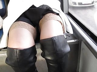Black leather platform porn boots seventies Chick in stockings and black leather boots in a bus