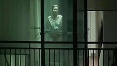 Korean girl lttile dance and half naked window voyeur