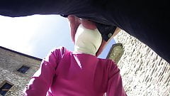 pink outfit in outdoor blowjob and oral creampie