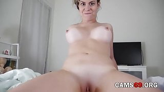 Busty Girl Sucking and Fucking with Dildo