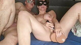Wife has hardcore sex with huge dildo