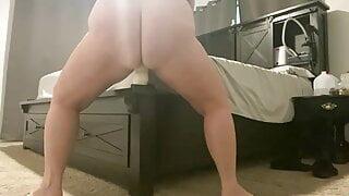 Wife rides huge dildo