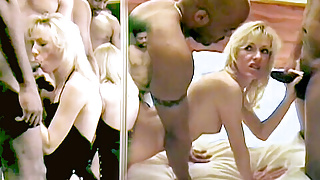 Black bulls cum into and over the white wife
