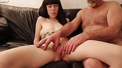 Stepdad fingers my pussy and makes me cum