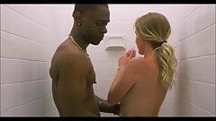 Огромный большой черный член, белая блондинка, жена в душе, межрасовая сцена в кино