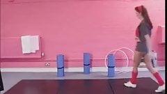 British lesbian threesome at the gym