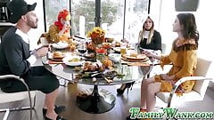 Thanksgiving cosplay hardcore foursome ends with cum facials
