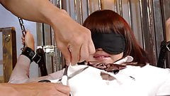Tied up Asian schoolgirl has her squirting bush viciously to
