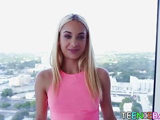 Uma naked Petite blonde babe uma jolie sucks cock like a champ