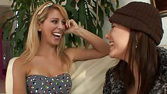 Busty blonde MILF seduces young brunette to fuck at home