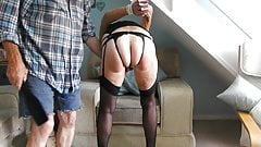 Granny in a hood gets tied and paddled hard in stockings