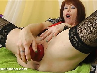 Red sex video Big red brutal dildo plug in both holes