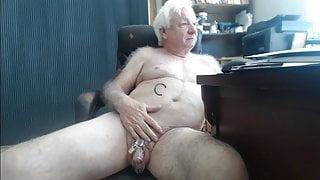 Grandpa with cockcage