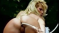 Vintage porn nice tit white girl gives her ass a cleaning outside by the pool