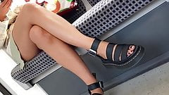 Foot voyeur spy almost up skirt