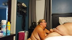 BBW Busty Wench pulling out a load