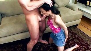 Rough double penetration for a sexy brunette slut