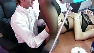 Dirty secretary will do anything to satisfy her boss's needs
