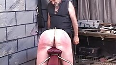D-cup jiggly-assed brunette slave gets paddled, whipped and roped