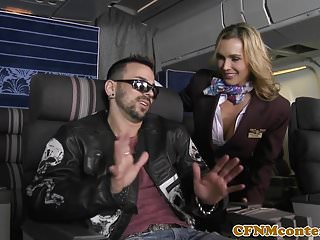 Stewardess lick - Cfnm stewardesses buttfucked in foursome