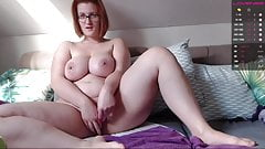 Redhead chubby girl jerks off her pussy and squirts a little