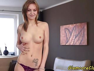 Lubricating herself on sex video - Babe fingering herself on the bed