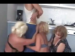 Sensational horny matures - 3 horny matures having fun with young guy