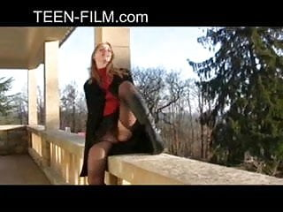 Pantie show upskirt Teen shows pussy outdoor with no panties upskirt