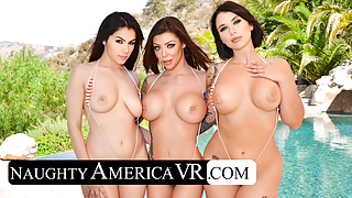It's a Naughty America Day at the Pool with 3 hot babes!