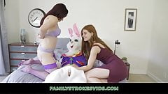 Dude Tricks Mom And Stepsis Into Threesome With Easter Bunny
