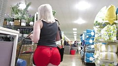 Hot young PAWG tight bubble booty in red hot booty shorts