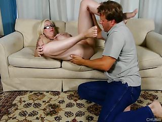 Ass over her head - Beautiful blonde bbw loves to fuck and cum all over her tits