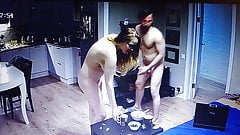 Naked couple are at home