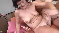 Sexy old granny fucks young grandson