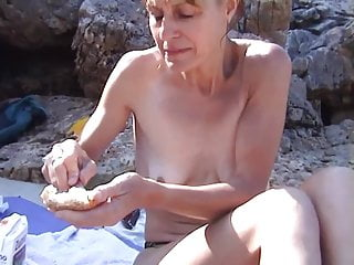 Topless big breasts on beach - Wife topless on beach