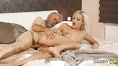 Old and young sex experiment is a birthday gift for blonde