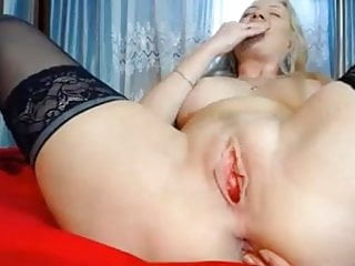 Balls in pussy - Blonde rubs pussy with balls in ass