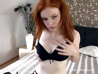 Big hairy red Hairy florence shoves a dildo in her hairy red pussy