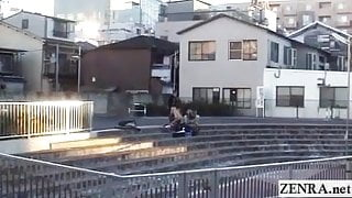 Subtitled extreme Japanese public nudity outdoor blowjob